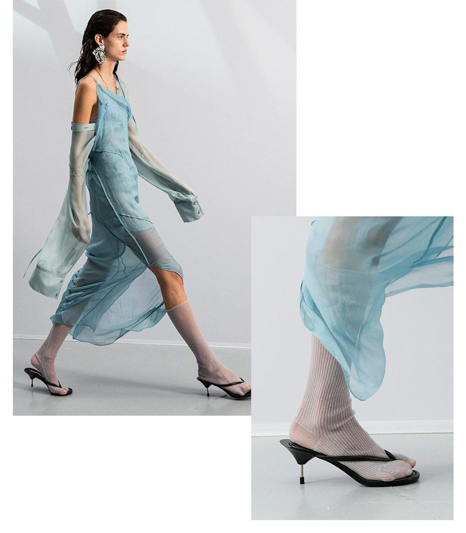 <p>The classic thong sandal has finally been elevated to be a fit for the fashion crowd. Once considered a fashion faux pas, thongs now flaunt the chicest heels, texture, and embellishments. Not to mention they are ideal for showing off a fresh pedicure. </p><p><em> Inspiration from Acne Studios</em></p>