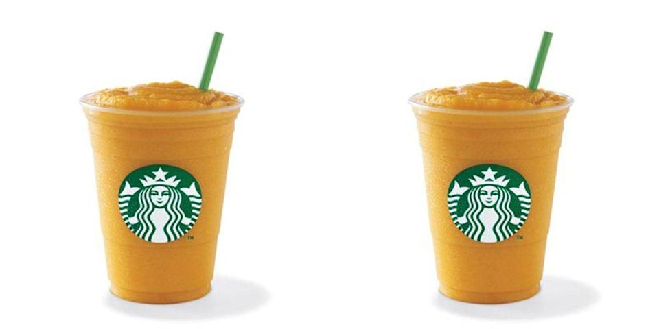 "<p>Debuted during the summer of 2006, the Pomegranate and Tangerine Frappuccino juice blends were made with fruit juice and freshly-brewed Tazo tea. Described as ""<a href=""https://www.businesswire.com/news/home/20060627005375/en/Starbucks-Famous-Frappuccino-Blended-Beverages-Tead-Summer"" rel=""nofollow noopener"" target=""_blank"" data-ylk=""slk:the perfect summer refresher"" class=""link rapid-noclick-resp"">the perfect summer refresher</a>"" and drinks to ""keep summer sizzlin'"" by BusinessWire upon their release, the drinks eventually sizzled right off the menu. (Pictured is the Mango Passionfruit Blended Frapp that still exists outside of the U.S.)</p>"
