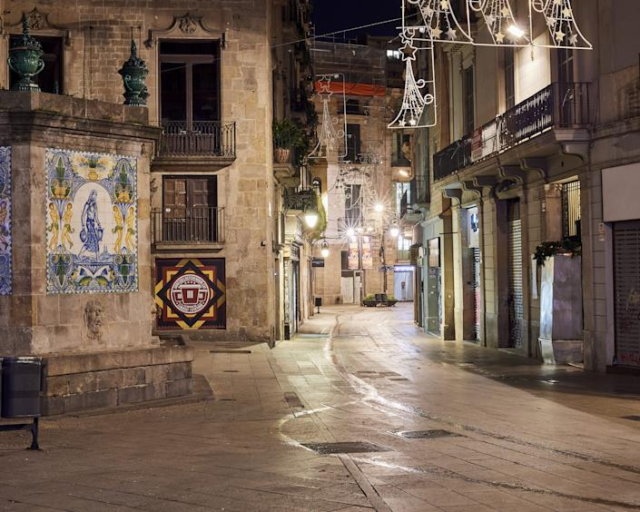 A street remains empty in Barcelona, Spain, on the New Year's Eve, January, 01, 2021.