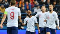 Goal getters: Harry Kane (left)and Raheem Sterling (2nd left)are England's leading scorers under Gareth Southgate