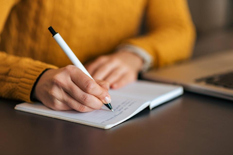 """<p>""""Journaling can be an effective way to manage your mood,"""" Dr. Chait told POPSUGAR, noting that research has shown the practice can <a href=""""http://www.ncbi.nlm.nih.gov/pmc/articles/PMC6305886/"""" class=""""link rapid-noclick-resp"""" rel=""""nofollow noopener"""" target=""""_blank"""" data-ylk=""""slk:help with depression, anxiety, and stress management"""">help with depression, anxiety, and stress management</a>. Writing is a cathartic way to <a href=""""https://www.popsugar.com/fitness/how-to-journal-for-your-mental-health-47222028"""" class=""""link rapid-noclick-resp"""" rel=""""nofollow noopener"""" target=""""_blank"""" data-ylk=""""slk:get your thoughts and fears on paper"""">get your thoughts and fears on paper</a> and there's no wrong way to do it, but Dr. Chait recommends incorporating - you guessed it - gratitude at least once a week. """"What's important is that you truly spend time reflecting on what you're grateful for and not just go through the motions,"""" she explained.</p>"""