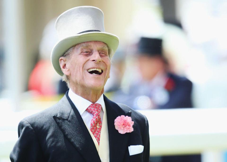 """<p>Prince Philip having fun at <a href=""""https://www.goodhousekeeping.com/uk/fashion-beauty/g561568/30-outfits-the-queen-has-worn-to-royal-ascot/"""" rel=""""nofollow noopener"""" target=""""_blank"""" data-ylk=""""slk:Royal Ascot"""" class=""""link rapid-noclick-resp"""">Royal Ascot</a> in 2014.</p>"""