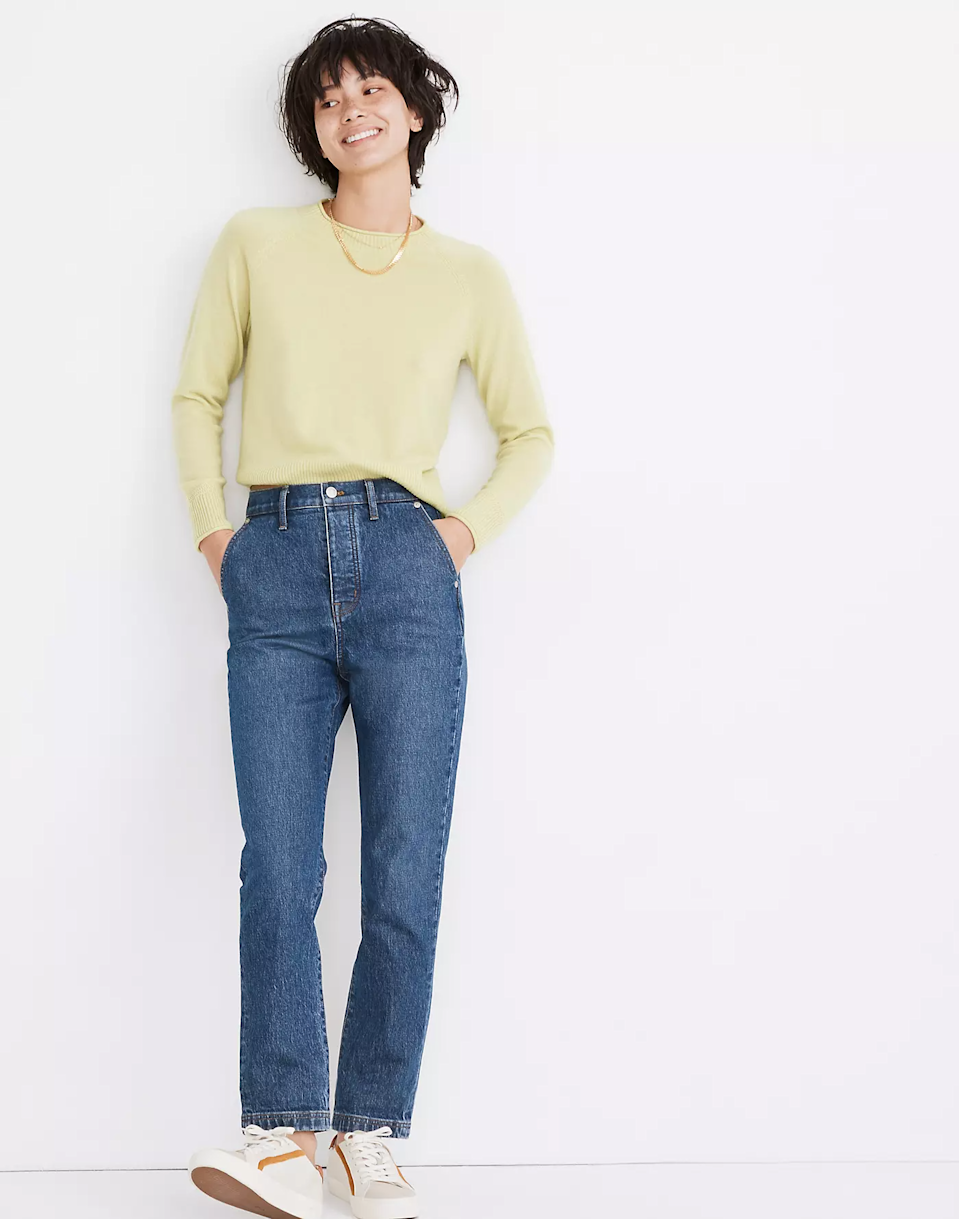 """<br><br><strong>Madewell</strong> The Perfect Vintage Jean, $, available at <a href=""""https://go.skimresources.com/?id=30283X879131&url=https%3A%2F%2Fwww.madewell.com%2Fthe-perfect-vintage-jean-in-minot-wash-trouser-edition-MB958.html%3Fdwvar_MB958_color%3DDM4580%26cgid%3Dwomens-megafolder"""" rel=""""nofollow noopener"""" target=""""_blank"""" data-ylk=""""slk:Madewell"""" class=""""link rapid-noclick-resp"""">Madewell</a>"""
