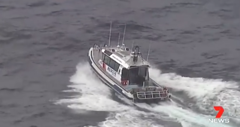 Pictured is a rescue boat in the ocean off southeast Queensland.