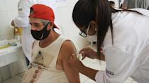Homeless Brazilians receive Covid-19 vaccines at Sao Paulo shelter