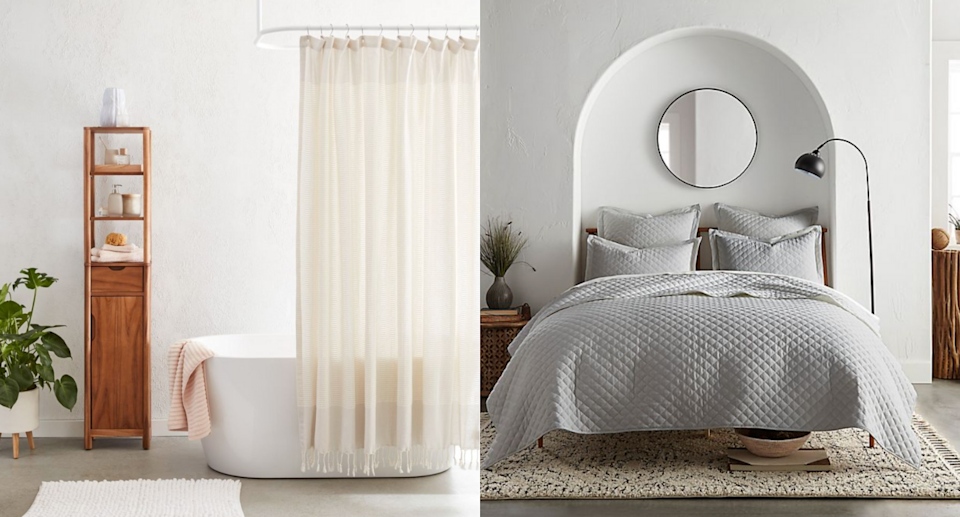 white bathroom with white shower curtain and grey bedding with round mirror