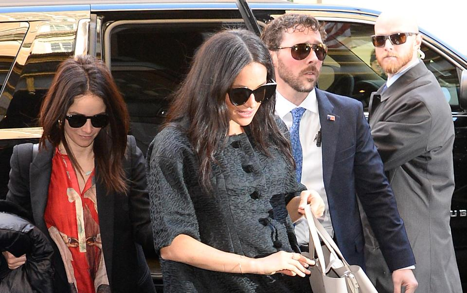 Meghan Markle photographed attending her NYC baby shower, with 'Suits' star Abigail Spencer, on the Upper East Side [Photo: Getty]