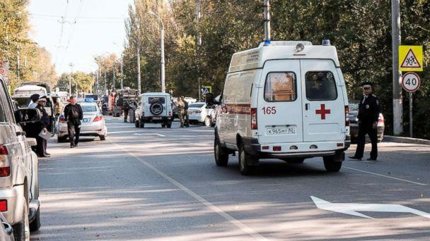 PHOTO: An ambulance near the building of the Kerch Polytechnic Vocational School where there was an explosion, Oct. 17, 2018, in the city of Kerch, Crimea, Russia. (Tass via ZUMAPRESS.com/Newscom)