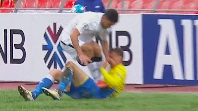 The player was shown a deserved red card for a nasty foul on a prostrate rival in the AFC Cup