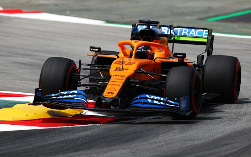 Carlos Sainz of Spain driving the (55) McLaren F1 Team MCL35 Renault on track during practice for the F1 Grand Prix of Spain at Circuit de Barcelona-Catalunya on August 14, 2020 in Barcelona, Spain. (Photo by Dan Istitene - Dan Istitene - Formula 1