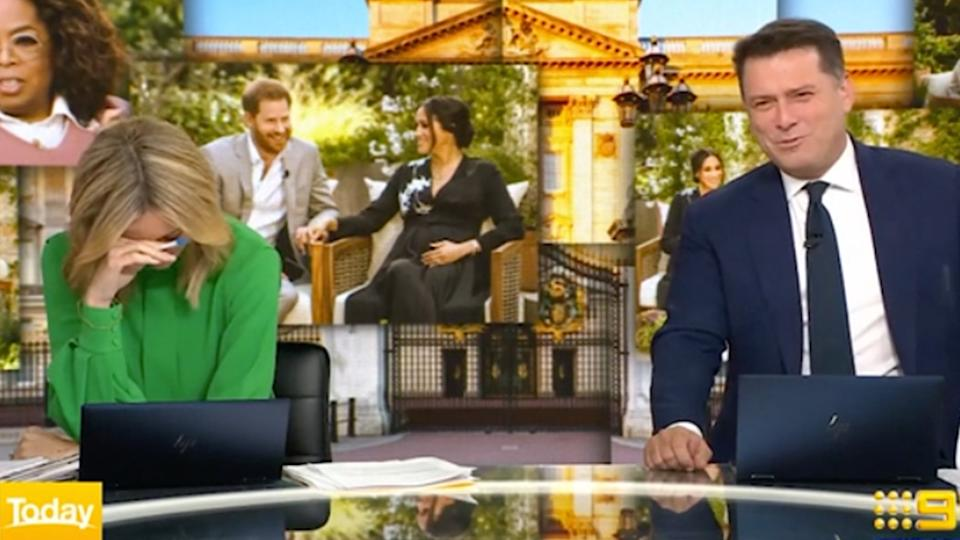 A screengrab of Today hosts Ally Langdon and Karl Stefanovic