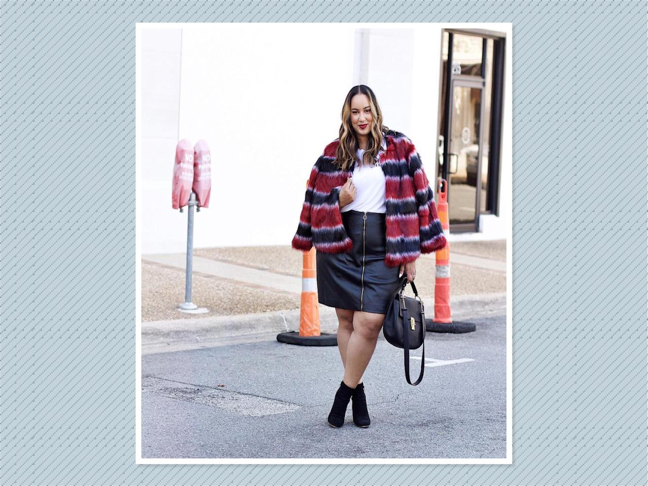"<p>Try out a color-block fur — like this one worn by <a rel=""nofollow"" href=""https://www.instagram.com/p/BZuBFT-lWLe/?hl=en&taken-by=iambeauticurve"">Rochelle Johnson</a> — and pair it with everything from skinny jeans and booties to a miniskirt combo. (Photo: Rochelle Johnson) </p>"
