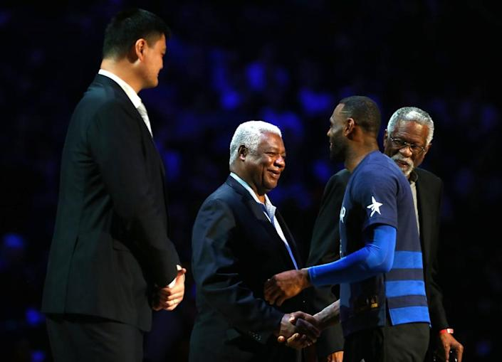 """<div class=""""inline-image__caption""""><p>Former NBA players Yao Ming, Oscar Robertson and Bill Russell are honored by LeBron James #23 of the Cleveland Cavaliers and the Eastern Conference in the first half during the NBA All-Star Game 2016 at the Air Canada Centre on February 14, 2016 in Toronto, Ontario. </p></div> <div class=""""inline-image__credit"""">Elsa/Getty Images</div>"""