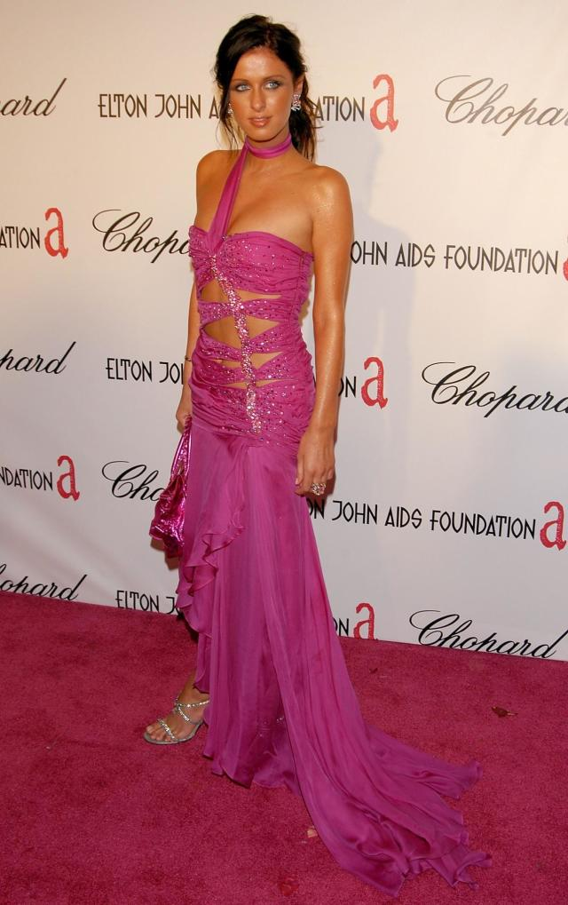 <p>Cutouts are back, but a brunette Nicki Hilton wore it at Elton John's Oscar party way back in 2005. (Photo: Stephen Shugerman/Getty Images) </p>