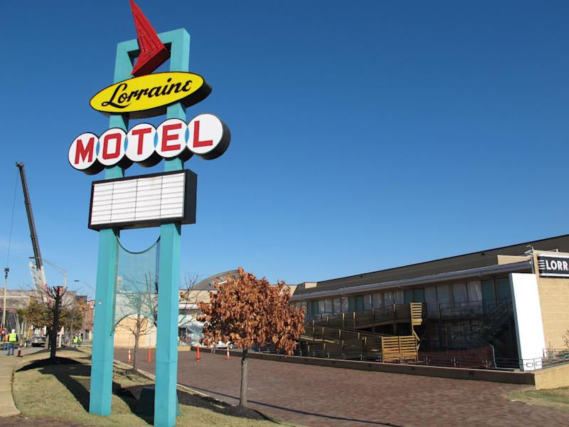 The National Civil Rights Museum, located on the site of the old Lorraine Motel, where Martin Luther King Jr. was shot in 1968, is shown as it undergoes renovations on Tuesday, Dec. 11, 2012 in Memphis, Tenn. (AP Photo/Adrian Sainz)