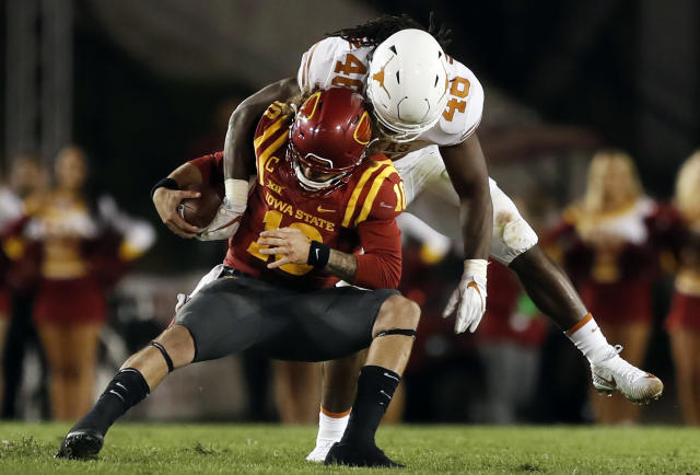 Texas linebacker Malik Jefferson (46) was the co-defensive player of the year in the Big 12. (AP Photo/Charlie Neibergall, File)