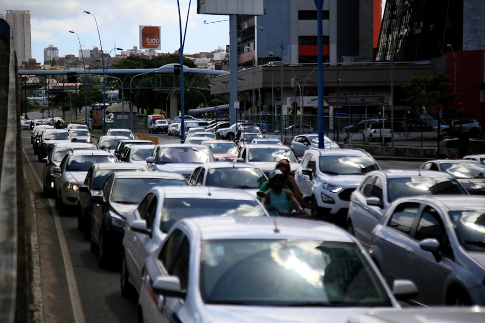 salvador, bahia, brazil - july 20, 2021: movement of vehicles in congestion in the city of Salvador.