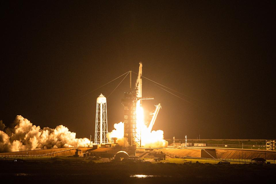 The SpaceX Falcon 9 rocket carrying the Inspiration4 crew launches into space