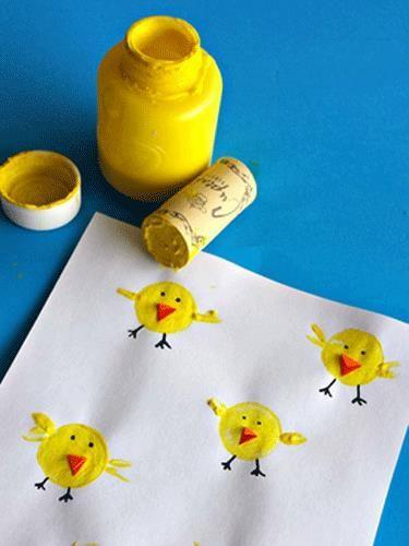 """<p>Instead of tossing your used wine corks, recycle them into makeshift stamps your kids can use to create tiny Easter chicks.</p><p><strong>Get the tutorial at </strong><a href=""""http://www.craftymorning.com/wine-cork-chicks-craft-kids"""" rel=""""nofollow noopener"""" target=""""_blank"""" data-ylk=""""slk:Crafty Morning."""" class=""""link rapid-noclick-resp""""><strong>Crafty Morning.</strong></a></p>"""