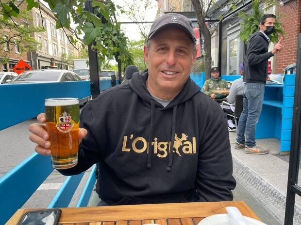Michael Sanders stopped in at Burgundy Lion Pub Friday morning for a breakfast on the patio.