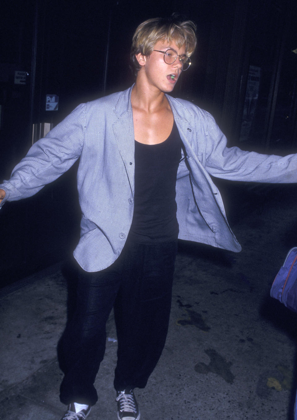 """NEW YORK CITY - AUGUST 3: Actor River Phoenix films """"Running on Empty"""" on August 3, 1987 in New York City. (Photo by Ron Galella, Ltd./Ron Galella Collection via Getty Images)"""