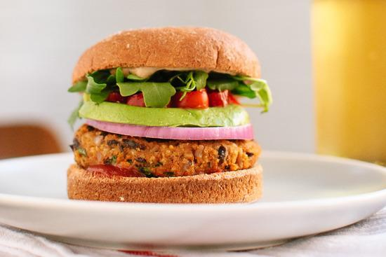 """<p>Veggie burgers have come a <i>long</i> way over the past few years. If you like yours hot to trot, you've come to the right place…</p><p>Get the recipe from <a href=""""http://cookieandkate.com/2013/sweet-potato-black-bean-veggie-burgers/"""" rel=""""nofollow noopener"""" target=""""_blank"""" data-ylk=""""slk:Cookie + Kate"""" class=""""link rapid-noclick-resp"""">Cookie + Kate</a>.</p><p><br></p>"""