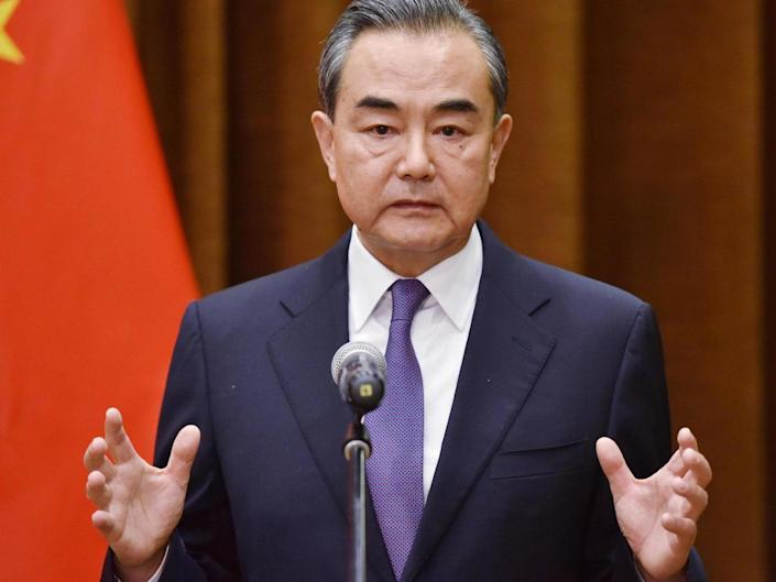 Foreign minister Wang Yi speaking at a joint briefing with the Association of South East Asian Nations in June 2018: Getty