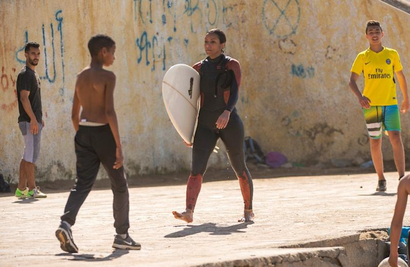 Rim Bechar, 28, said it had become easier to surf in Morocco as a woman now than when she started out four years ago (AFP Photo/FADEL SENNA)
