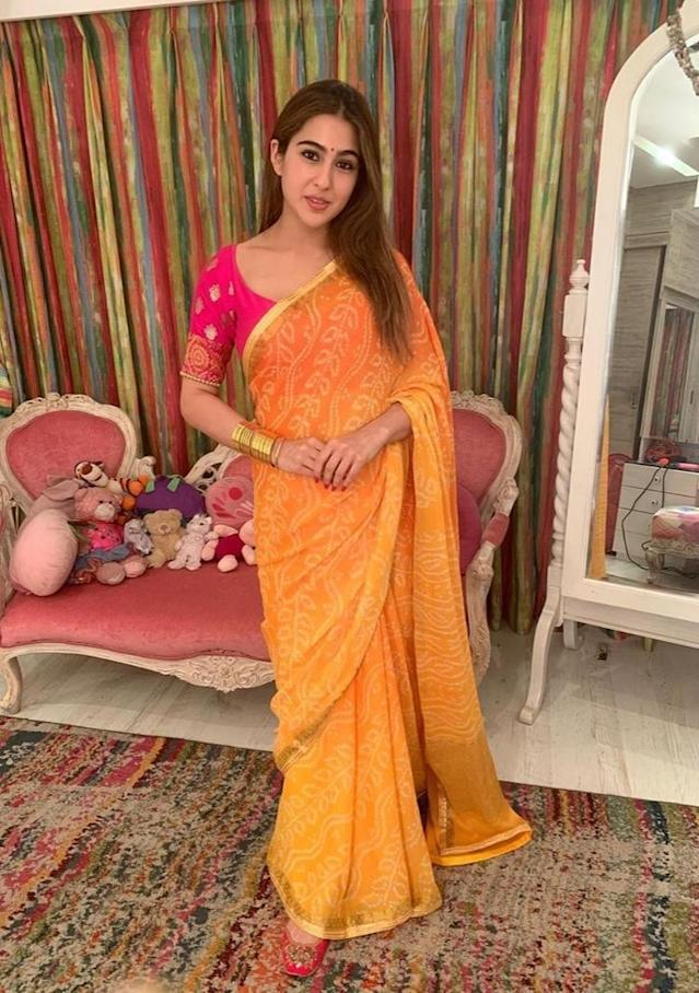 Often spotted in desi wear, sarees, however, are not something we have seen her enough times in. However, this yellow bandhej she draped for a Diwali party last year was an absolute winner. The simplicity coupled with the easy appeal of the light-weighted fabric is what guaranteed all eyes on her. If ethnic wear is what amazes you, a silk bandhani piece with a contrasting blouse is a must in your wardrobe. <br>