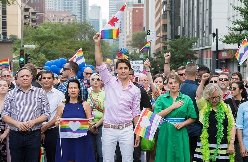 Federal and provincial leaders march together in Montreal's Pride parade
