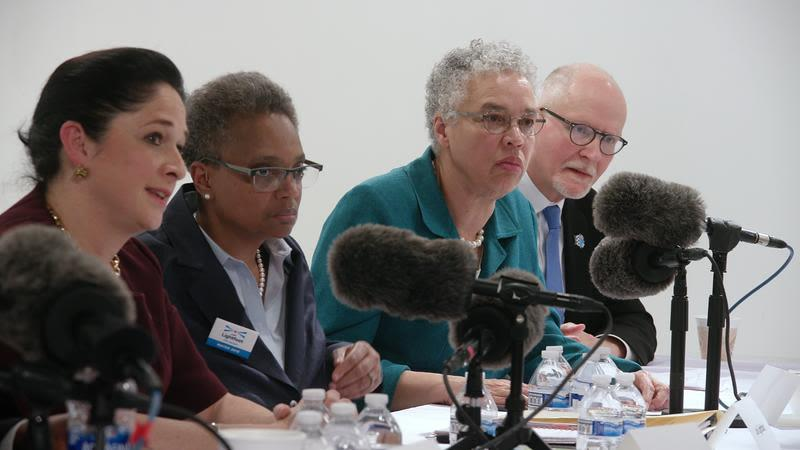 Mayoral candidates Susana Mendoza, Lori Lightfoot, Toni Preckwinkle, and Paul Vallas at the Chicago Sun-Times debate.