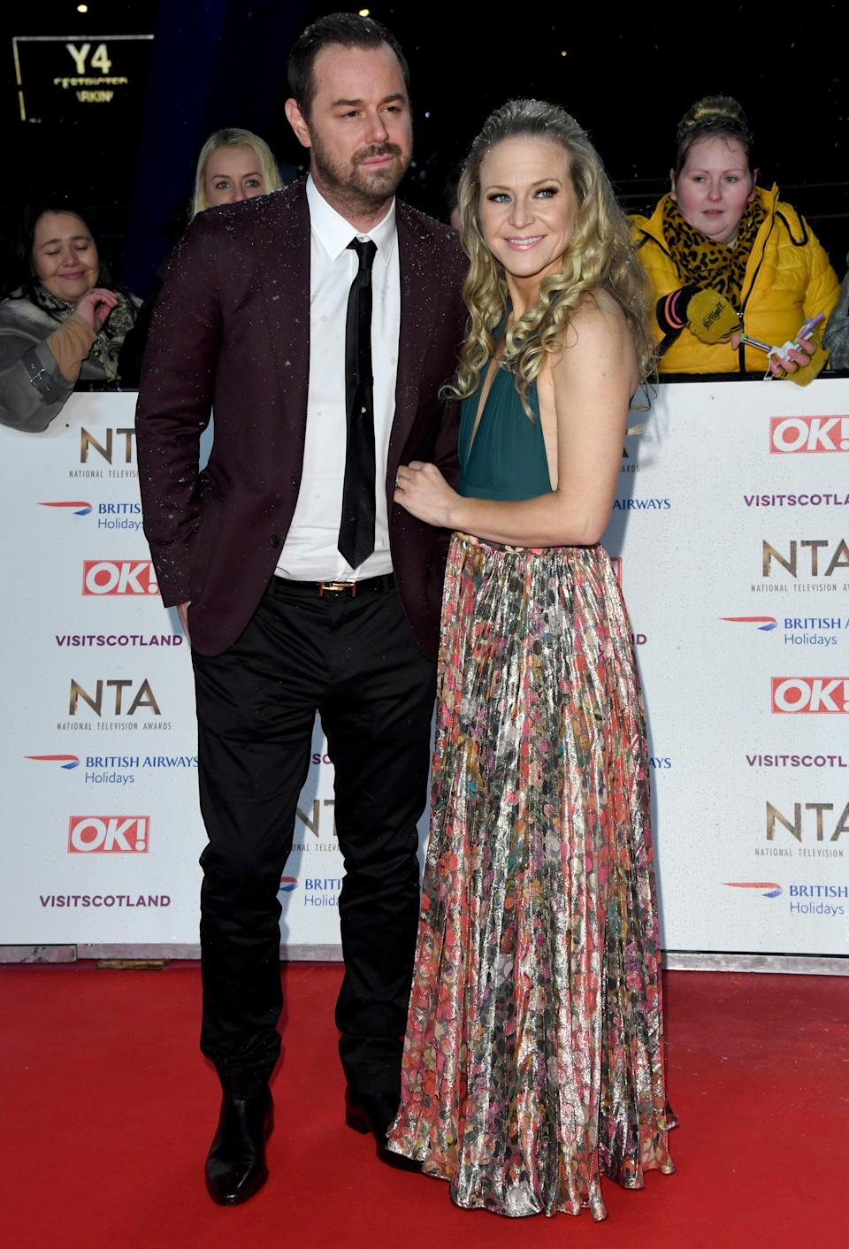 <p>Dyer is wearing a burgundy-hued suit while co-star Bright opted for a halterneck dress. <em>[Photo: Getty]</em> </p>
