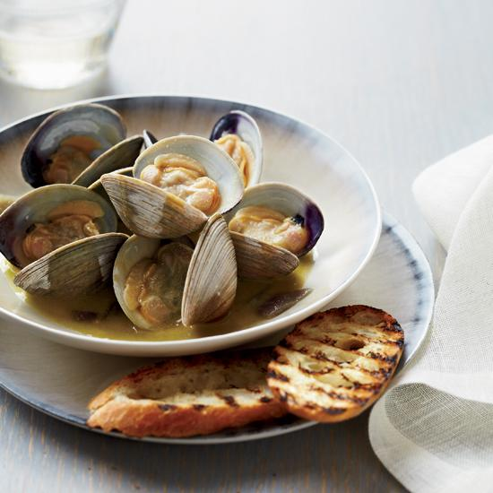 """<div class=""""caption-credit""""> Photo by: Anna Williams</div><div class=""""caption-title"""">Foie Gras-Steamed Clams</div><b><a href=""""http://www.foodandwine.com/recipes/foie-gras-steamed-clams"""">Foie Gras-Steamed Clams</a></b> <br> At the Greenhouse Tavern in Cleveland, chef Jonathon Sawyer uses a little bit of foie gras to create a luscious sauce for clams. """"It's such a simple recipe,"""" he says.""""I just put the clams, foie gras and vinegar in a pot and just let them get to know each other for a while."""""""