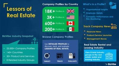 Snapshot of BizVibe's lessors of real estate industry group and product categories.