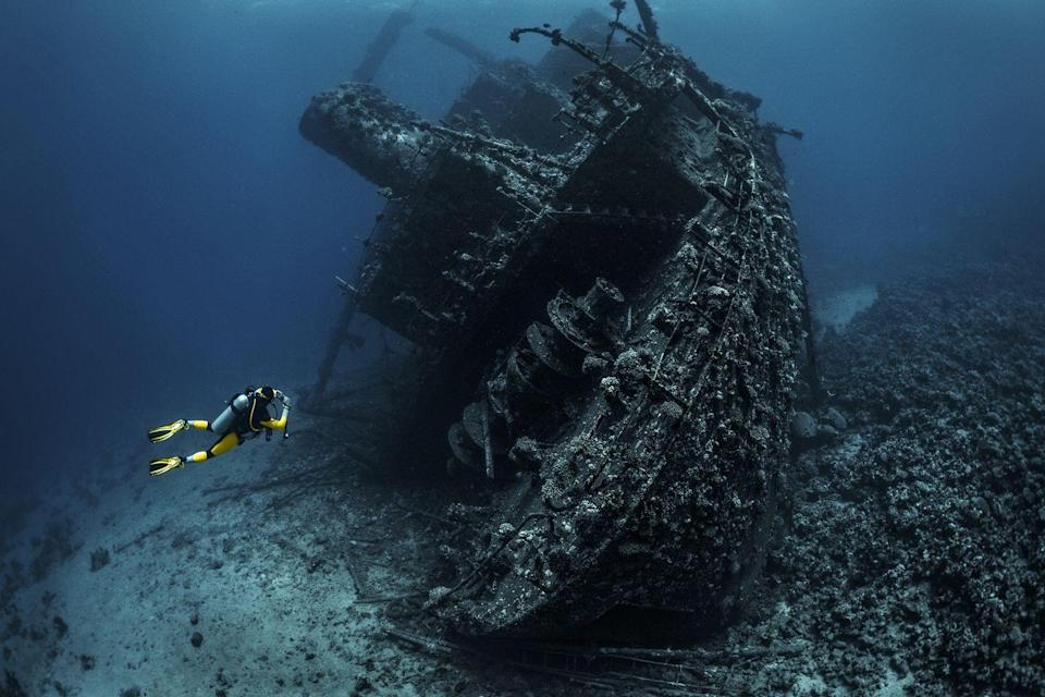 """<p>Similar to this this massive wreckage located on the bed of the Red Sea, there are an estimated <a href=""""https://www.popularmechanics.com/science/a19000/less-than-one-percent-worlds-shipwrecks-explored/"""" rel=""""nofollow noopener"""" target=""""_blank"""" data-ylk=""""slk:three million shipwrecks"""" class=""""link rapid-noclick-resp"""">three million shipwrecks</a> in the ocean. </p>"""