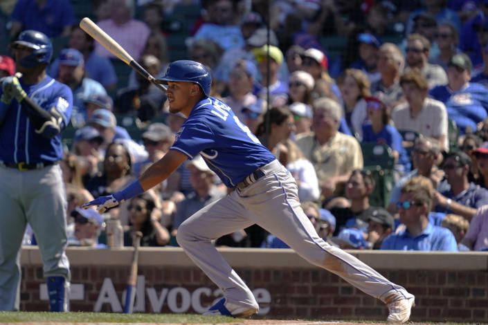 Kansas City Royals' Nicky Lopez runs to first after hitting a one-run single in the fourth inning of a baseball game against the Chicago Cubs, Sunday, Aug. 22, 2021, in Chicago. (AP Photo/Nam Y. Huh)