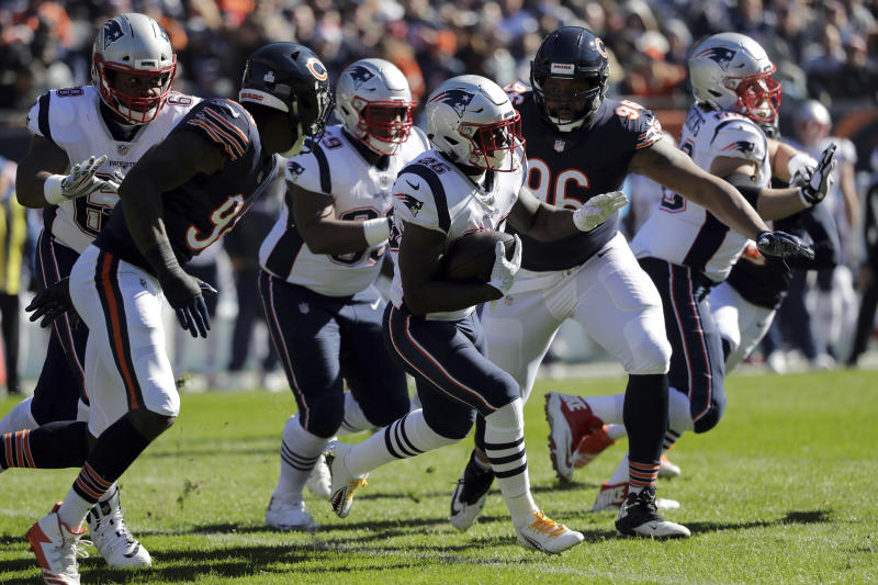 New England Patriots running back Sony Michel (26) runs during the first half of an NFL football game against the Chicago Bears Sunday, Oct. 21, 2018, in Chicago. (AP Photo/Nam Y. Huh)