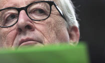 European Commission President Jean-Claude Juncker pauses before speaking during a media conference at the end of an EU summit in Brussels, Friday, June 21, 2019. EU leaders concluded a two-day summit on Friday in which they discussed, among other issues, the euro-area. (AP Photo/Virginia Mayo)