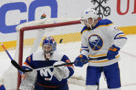Buffalo Sabres' Rasmus Ristolainen (55) scores a goal as New York Islanders goaltender Ilya Sorokin (30) reacts during the third period of an NHL hockey game Thursday, March 4, 2021, in Uniondale, N.Y. The Islanders won 5-2. (AP Photo/Frank Franklin II)