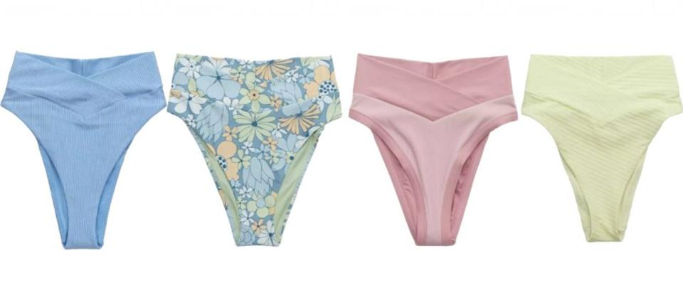 Credit: Aerie<br>Left to right: Shine, Printed, Ribbed, Jacquard