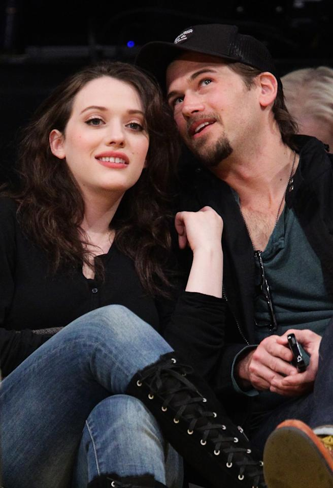 LOS ANGELES, CA - APRIL 17:  Kat Dennings (L) and Nick Zano attend a basketball game between the San Antonio Spurs and the Los Angeles Lakers at Staples Center on April 17, 2012 in Los Angeles, California.  (Photo by Noel Vasquez/Getty Images)