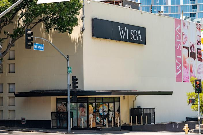 Police in Los Angeles declared an unlawful assembly and fired non-lethal projectiles to disperse an unruly crowd on Saturday after a dueling protest over transgender rights at Wi Spa in Koreatown turned violent.