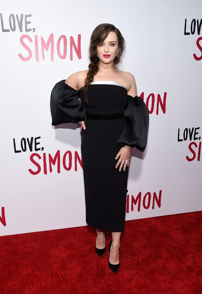 WHO: Katherine Langford<br />WHAT: Stella McCartney<br />WHERE: At the screening of Love, Simon, Los Angeles<br />WHEN: March 13, 2018