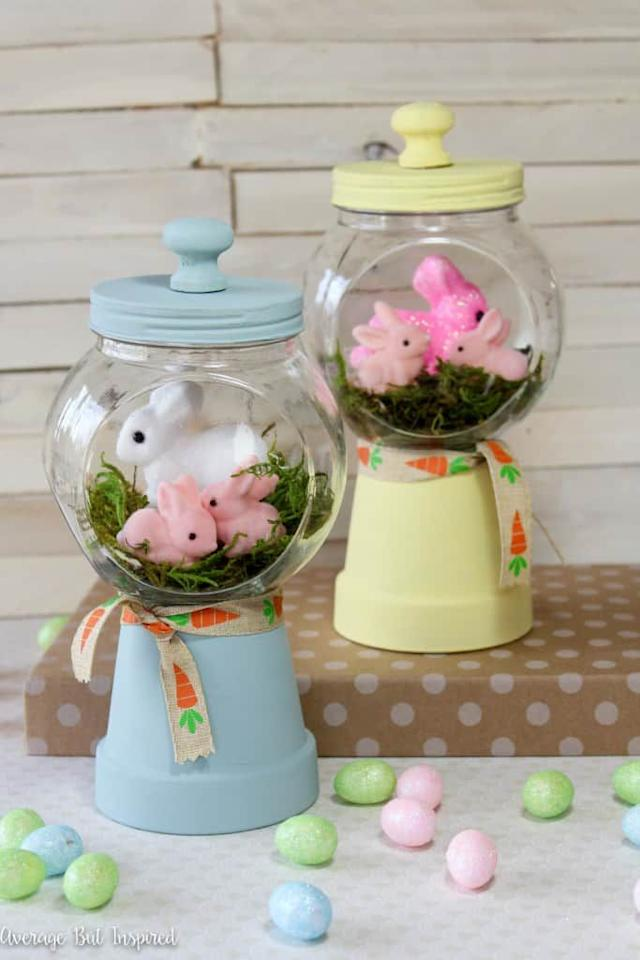 """<p>A candy jar and a flower pot come together to create these stunning """"gumball machines"""" that will be your new favorite Easter decoration.</p><p><strong>Get the tutorial at <a href=""""https://averageinspired.com/2016/03/spring-bunny-gumball-machine-craft.html"""" target=""""_blank"""">Average but Inspired</a>. </strong></p><p><strong><a class=""""body-btn-link"""" href=""""https://www.amazon.com/dp/B00RGFYDZA/?tag=syn-yahoo-20&ascsubtag=%5Bartid%7C10050.g.30859267%5Bsrc%7Cyahoo-us"""" target=""""_blank"""">SHOP PAINTS</a><br></strong></p>"""