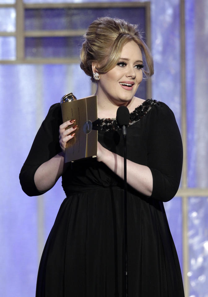 "Winner Adele, Best Original Song - Motion Picture, ""Skyfall"" on stage during the 70th Annual Golden Globe Awards held at the Beverly Hilton on January 13, 2013."