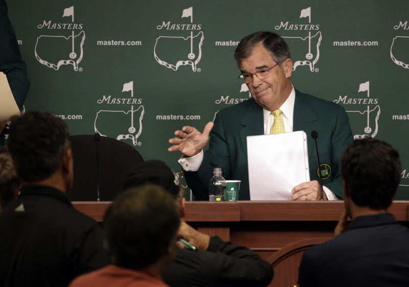 Chairman of Augusta National Golf Club Billy Payne responds to a question during a news conference before the Masters golf tournament Wednesday, April 4, 2012, in Augusta, Ga. (AP Photo/Matt Slocum)