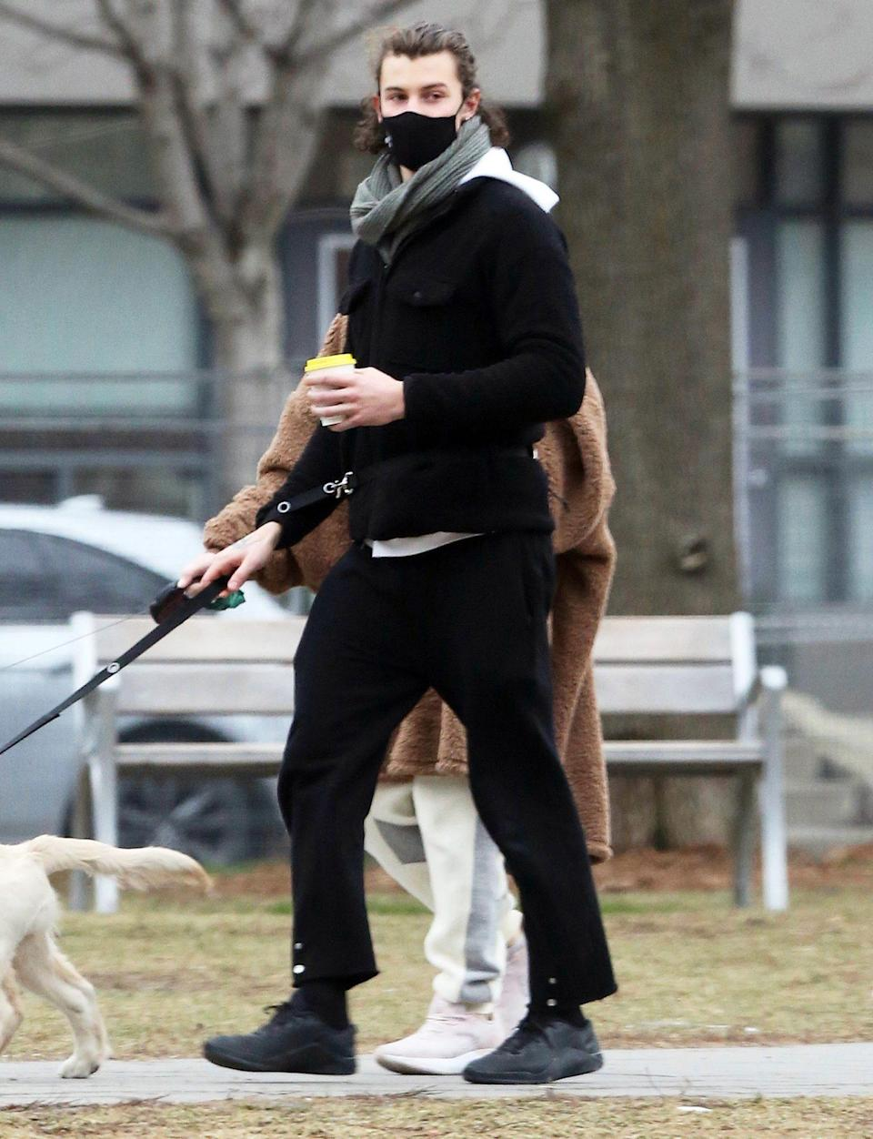 <p>Shawn Mendes walks his new puppy Tarzan with his sister Aaliyah on Sunday in Toronto.</p>