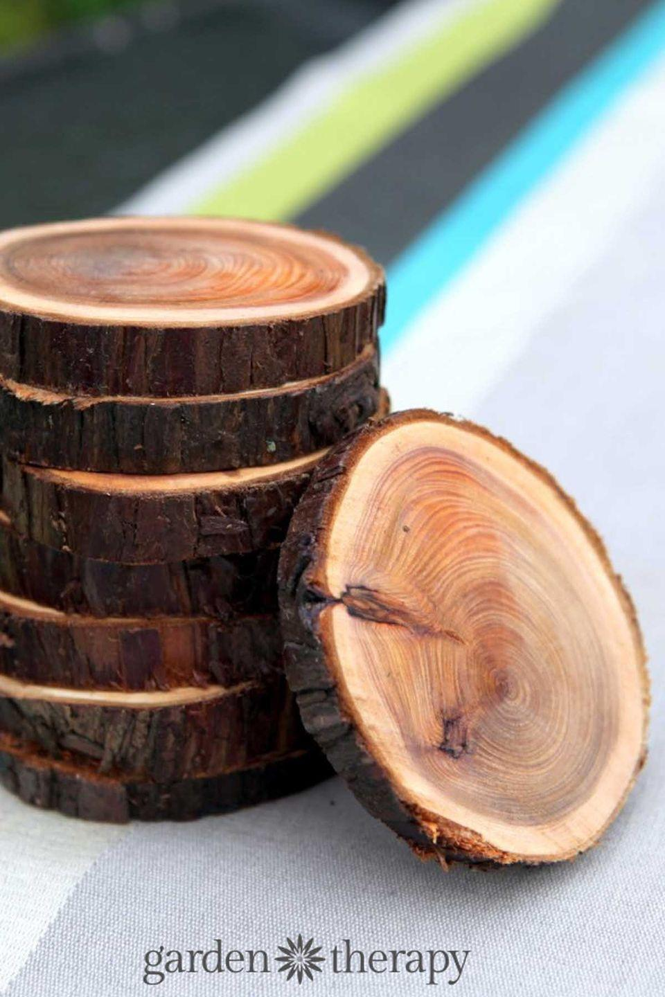 """<p>Bring the outdoors inside with these unique wooden coasters, which would make the perfect addition to his man cave. </p><p><strong>Get the tutorial at <a href=""""https://gardentherapy.ca/natural-branch-coasters/"""" rel=""""nofollow noopener"""" target=""""_blank"""" data-ylk=""""slk:Garden Therapy"""" class=""""link rapid-noclick-resp"""">Garden Therapy</a>. </strong></p>"""