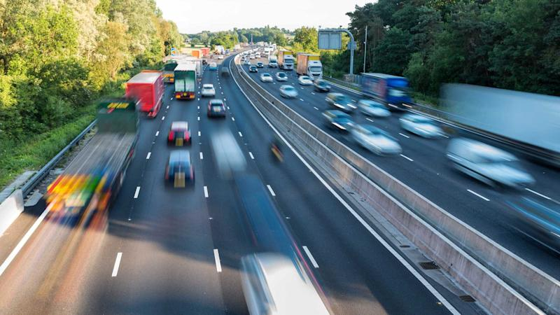 Heavy traffic on UK motorway in England