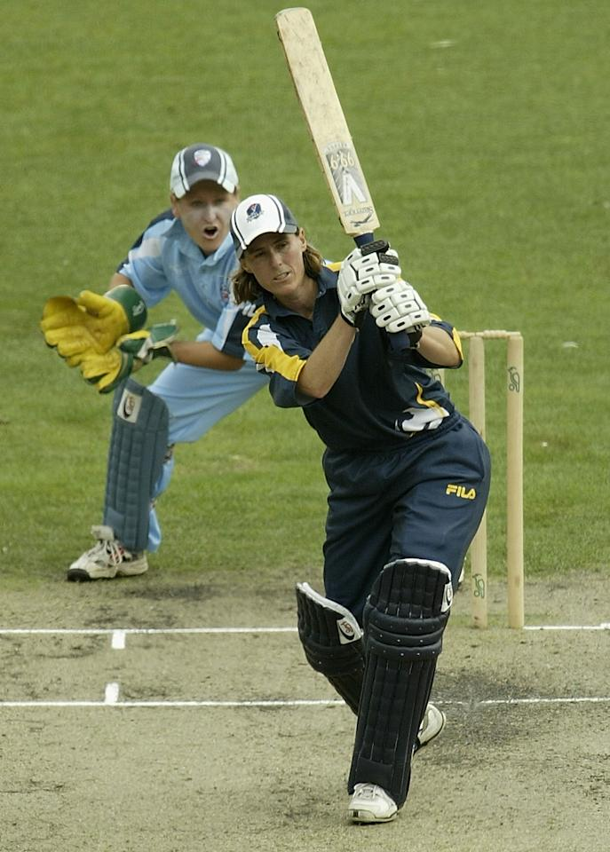 MELBOURNE, AUSTRALIA - FEBRUARY 1:  Belinda Clark of Victoria in action during game two of the Women's National Cricket League Finals Series match between the Vic Spirit and the NSW Breakers February 1, 2004 at the Melbourne Cricket Ground in Melbourne, Australia.  (Photo by Robert Cianflone/Getty Images)